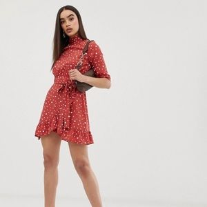 PrettyLittleThing red high neck dot dress